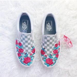 Vans Rose Embroidered Slip-On Sneakers